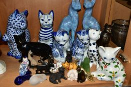 A QUANTITY OF CERAMIC, METAL AND RESIN CAT FIGURES, including a Royal Doulton Black Cat DA131, a