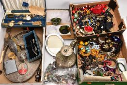 TWO BOXES OF ASSORTED COSTUME JEWELLERY AND A BOX OF WHITE METALWARE, to include beaded necklaces,