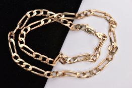 A MODERN 9CT GOLD FIGARO LINK CHAIN, measuring approximately 520mm in length, hallmarked 9ct gold,