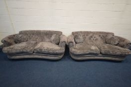 JOHN SANKEY, A TWO PIECE GREY VELVET UPHOLSTERED LOUNGE SUITE, with rounded back corners, and