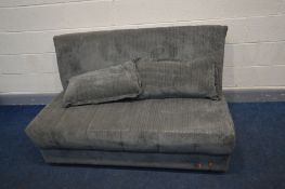 A GREY UPHOLSTERED FUTON, width 146cm x open length 194cm x bed height 44cm