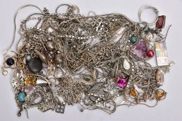 A BAG OF ASSORTED WHITE METAL JEWELLERY, to include some entangled white metal chains, some with