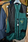 A LADIES COAT AND THREE GENTS CLAY PIGEON SHOOTING JACKETS/WAISTCOAT, comprising a ladies Chaqueta