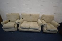 A CREAM UPHOSTERED THREE PIECE LOUNGE SUITE, comprising a two seat settee, armchair and a manual