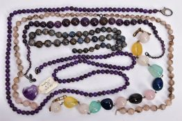 A SELECTION OF GEM BEAD NECKLACES, to include two amethyst bead necklaces, a carved amethyst
