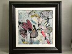 ANNIE RODRIGUE (CANADIAN CONTEMPORARY) 'FUSION DESERTIQUE DE L'OLIVE GREQUE' stylised flowers,