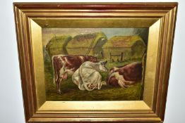 S.D. BAGLEY (19TH CENTURY) CATTLE IN PASTURES, HAYSTACKS BEYOND, signed and dated 1879 bottom