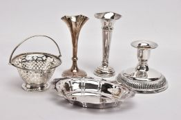 FIVE ITEMS OF SILVERWARE, to include a silver Edwardian bud vase, the fluted stem leading to a