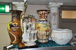 A GROUP OF LARGE CERAMIC VASES, LAMPS, etc, comprising two contemporary vases, height 51cm with