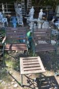 A PAIR OF CAST IRON AND SLATTED GARDEN CHAIRS width 62cm (Sd) and a similar occasional table (3)