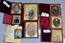A SMALL COLLECTION OF VICTORIAN PHOTOGRAPHIC PRINTS AND DAGUERROTYPES, all housed in hinged cases