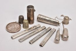 A SELECTION OF SILVER ITEMS, to include four silver pencil cases, each fitted with a pencil, all