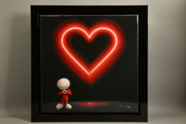 DOUG HYDE (BRITISH 1972) 'THE MESSAGE OF LOVE' limited edition print of a neon heart 101/150, signed