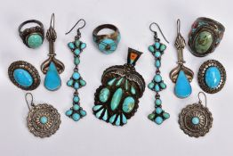 A SELECTION OF MAINLY TURQUOISE AND SILVER JEWELLERY, to include a pair of drop earrings set with