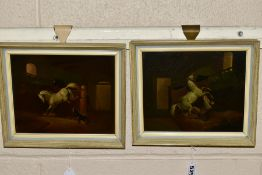 19TH CENTURY SCHOOL, a pair of oils on metal panels depicting white horses in a stable setting,