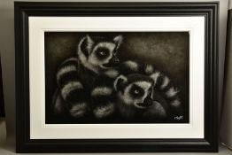 COLIN BANKS (BRITISH CONTEMPORARY) 'NOSY NEIGHBOURS', a study of ring tailed lemurs, signed bottom