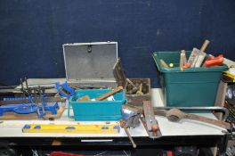 FIVE BOXES CONTAINING HAND TOOLS, SDS drill bits, a Record No4 wood plane, mallets, Hammers, a