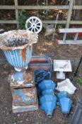 AN EARLY 20TH CENTURY CAST IRON URN ON A DISTRESSED STAND diameter 45cm x height 104cm, six blue