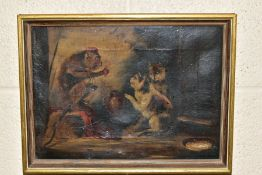 TWO 19TH CENTURY SCHOOL OILS ON CANVAS, the first depicts a dog wearing a red jacket torturing a cat