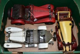ONE BOX CONTAINING THREE MODEL CARS, white metal model of a vintage Rolls Royce, unmarked,