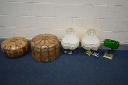 A MODERN BRASS BANKERS LAMP with a green shade, along with two other table lamps with fabric shades,