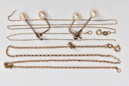 THREE ITEMS OF JEWELLERY, to include a pair of 9ct gold double cultured pearl drop earrings,