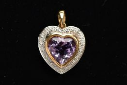 A 9CT GOLD AMETHYST AND DIAMOND HEART PENDANT, designed with a heart shape amethyst, within a single