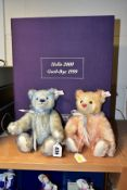 TWO BOXED STEIFF LIMITED EDITION TEDDY BEARS, 'HELLO 2000 GOOD-BYE 2019', each bear jointed,