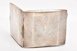 A SILVER CIGARETTE CASE, engine turned design, engraved monogram, push button clasp, missing