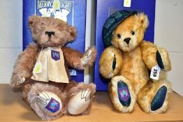 TWO BOXED MERRYTHOUGHT LIMITED EDITION INTERNATIONAL COLLECTORS CLUB JOINTED BEARS, one wearing