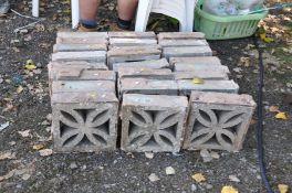 TWENTY FOUR QUADRAFOIL DETAILED GARDEN BLOCK WALLING 30cm squared X 9cm depth