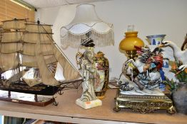 DECORATIVE ITEMS to include a Capodimonte figure of Napoleon on horseback, complete with gilt