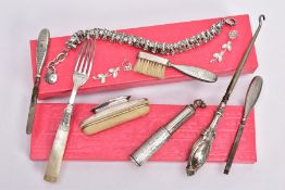 A SELECTION OF SILVER ITEMS, to include a George V silver perfume travel atomiser, engraved