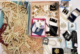 TWO BOXES OF MAINLY COSTUME JEWELLERY, to include one box of imitation pearl necklaces, a further