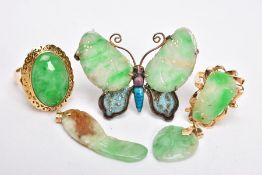 A SELECTION OF JADE JEWELLERY, to include a yellow metal jade cabochon ring, scroll detail