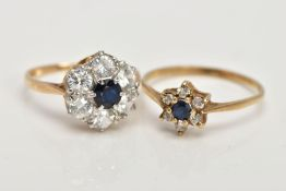 TWO 9CT YELLOW GOLD, SAPPHIRE AND CUBIC ZIRCONIA CLUSTER RINGS, the first a large cluster set with a