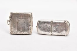 AN EDWARDIAN SILVER COMBINATION SOVEREIGN AND VESTA CASE AND A GEORGIAN VESTA, of a rounded