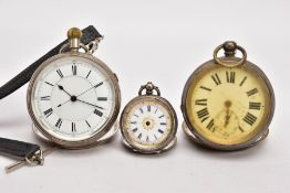A SILVER OPEN FACED POCKET WATCH AND TWO OTHERS, round white dial, Roman numerals, blue hands,