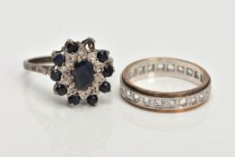 TWO RINGS TO INCLUDE A SILVER SAPPHIRE AND DIAMOND CLUSTER AND A SYNTHETIC SPINEL FULL ETERNITY