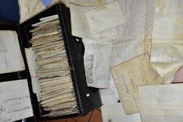 INDENTURES, a metal deed box containing approximately 150 articles including mortgages, leases,