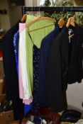 A SMALL QUANTITY OF LADIES CLOTHES, SHOES, BAGS AND SCARVES IN TWO BOXES AND LOOSE, including an M &