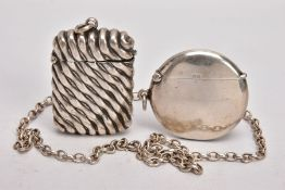 A SELECTION OF SILVER ITEMS, to include a circular plain polished vesta, striker to the base, fitted