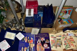 FOUR BOXES AND LOOSE CERAMICS, GLASS, BOOKS, EMPTY BAGS AND BOXES, ETC, to include Royal Doulton