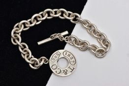 A SILVER TIFFANY & CO TOGGLE BRACELET, curb link bracelet, fitted with a signed 'T & Co, 925, 1837',