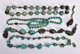 FOUR TURQUOISE BEAD NECKLACES, the first a uniform row of spherical beads (one bead broken), beads