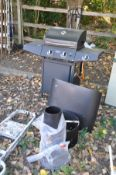 A MONTANA TWO BURNER GAS BARBEQUE includes gas bottle, along with an extraction hood