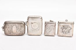 FOUR EDWARDIAN SILVER VESTAS, two with engraved foliate designs and vacant cartouches, one with an