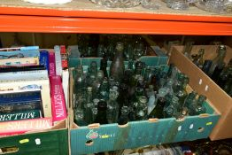 THREE BOXES OF VINTAGE BOTTLES AND ONE BOX OF ANTIQUE BOOKS to include torpedo, Codd, burst lip,