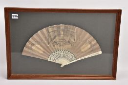 TRIAL OF WARREN HASTINGS, a late 18th Century paper and bone fan, the fan printed with a