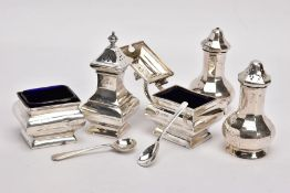 A SELECTION OF CONDIMENT ITEMS, to include a silver mustard dish, hallmark Birmingham 1927, a